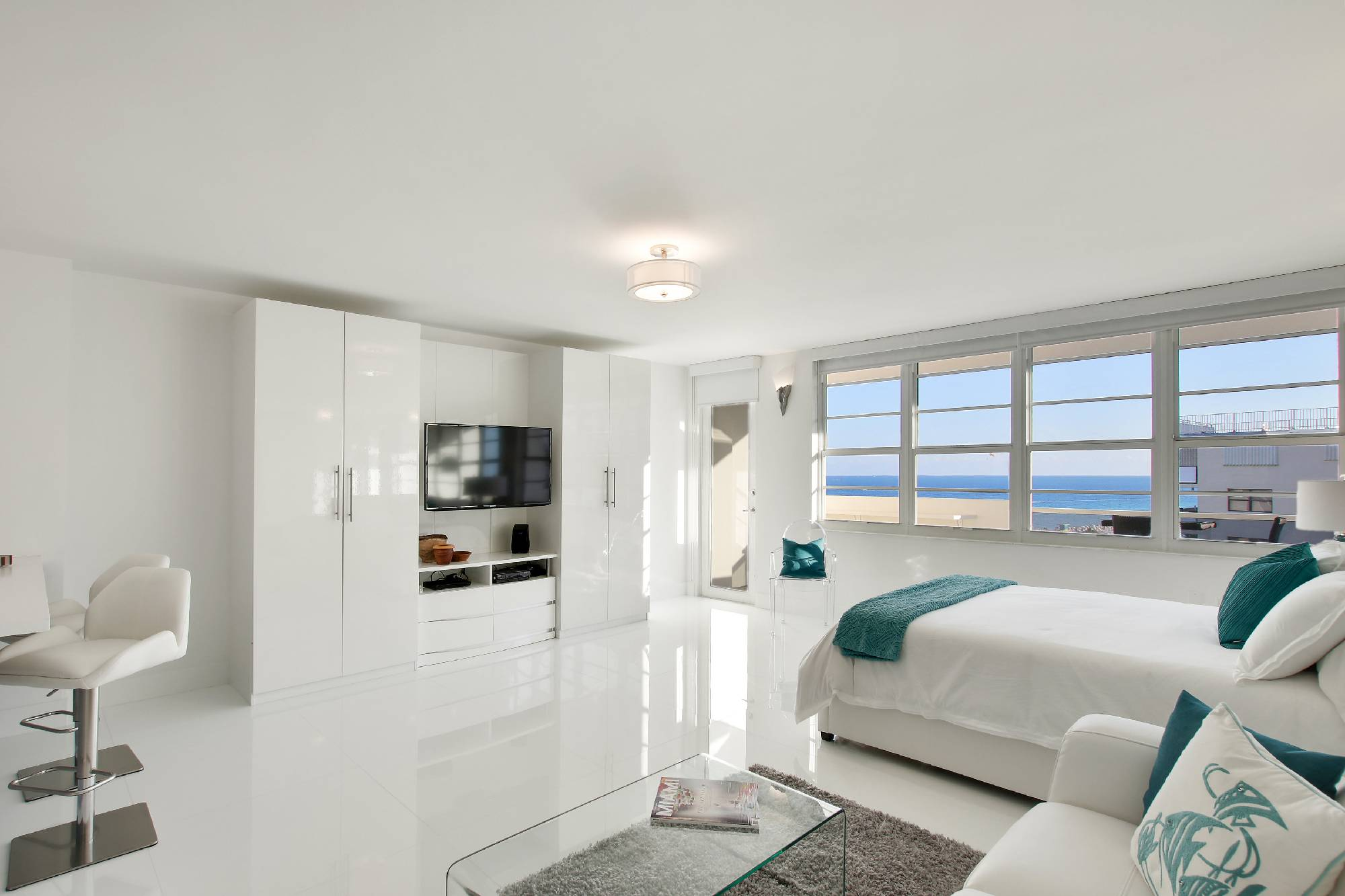 bed and ocean view