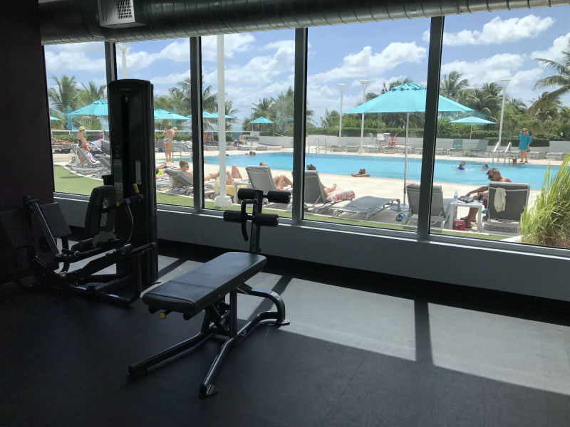view of pool from gym